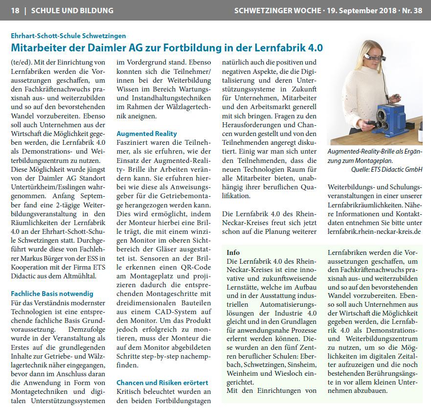 Fortbildung - Lernfabrik 4.0 für Mitarbeiter Mercedes-Benz