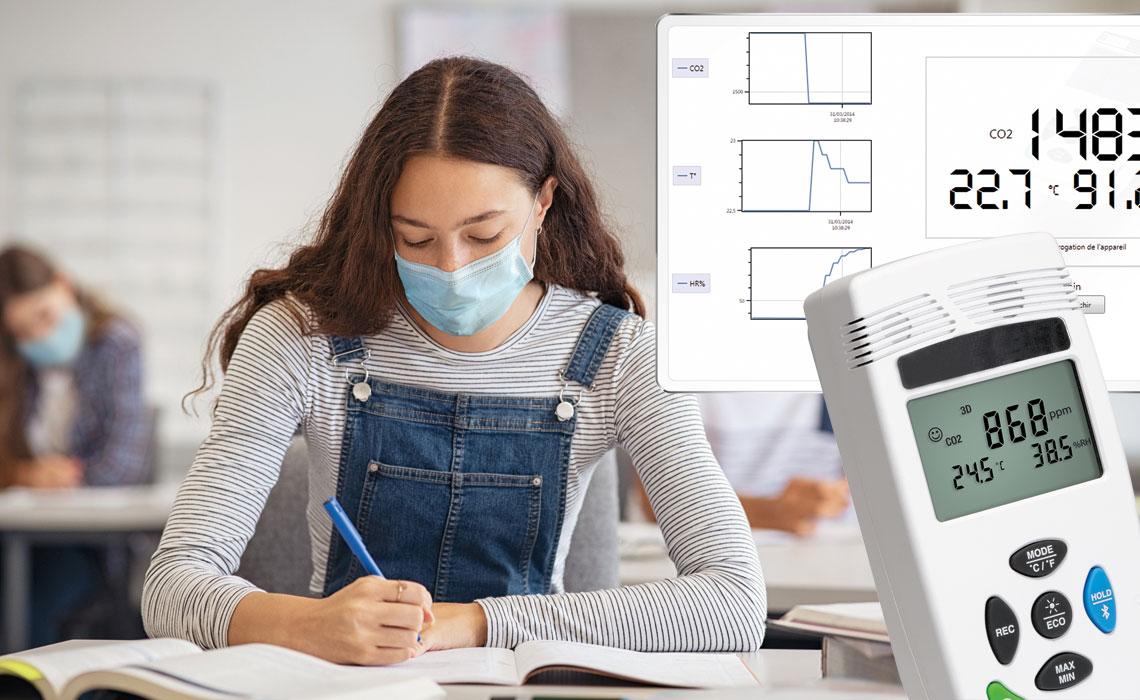 CO<sub>2</sub>-Überwachung in Unterrichtsräumen